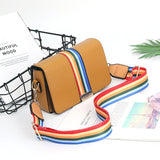 Small Square Rainbow Width Strap Crossbody Bag (7 colors)