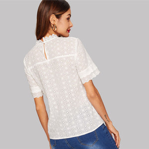 White Eyelet Embroidered Lace Top - The Sweetest Tee