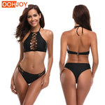 Strappy Halter Backless Bikini (2 colors)