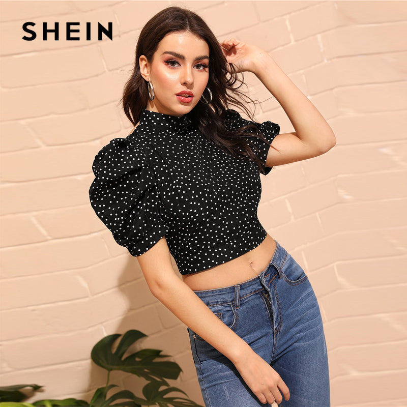 Black Puff Sleeve Knot Backless Polka Dot Top - The Sweetest Tee