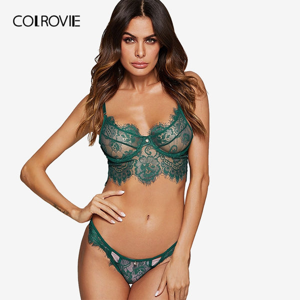 Green Wireless Eyelash Lace Floral Lingerie Set - The Sweetest Tee