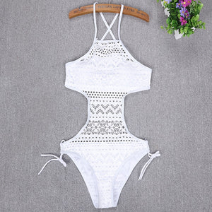 Halter Lace One-Piece Swimwear (4 colors) - The Sweetest Tee