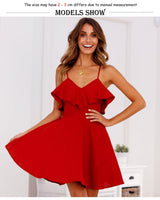 Red Ruffles Backless Dress - The Sweetest Tee