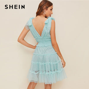 Shoulder Knot Plunging Neck Mesh Lace Dress (3 colors) - The Sweetest Tee