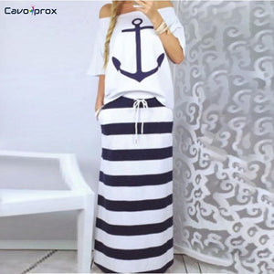 Two Piece Anchor Top & Striped Skirt (2 colors) - The Sweetest Tee