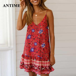 Antime Boho Summer Dress Beach Mini Casual Sundress Sleeveless Women Bohemian Spagetti Strap Dresses Print - The Sweetest Tee
