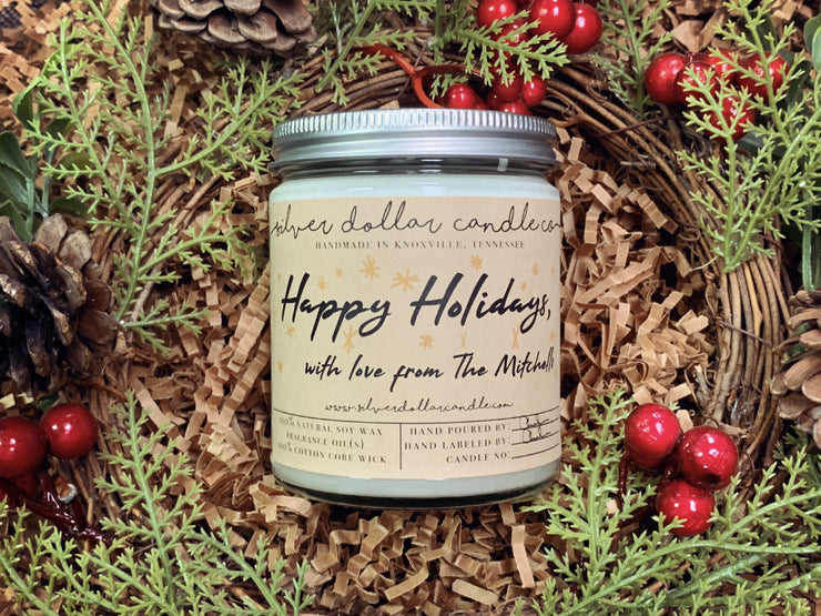 Personalized Happy Holidays, With Love... - Silver Dollar Candle Co