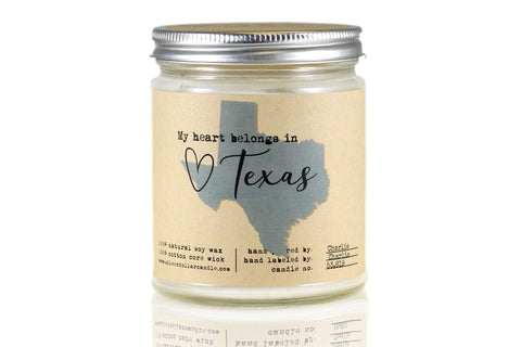 Texas State Candle - 8oz Soy Candle - Silver Dollar Candle Co