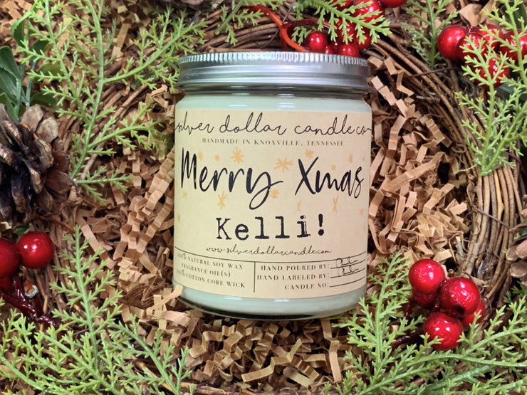 Merry Xmas (Personalized) - Silver Dollar Candle Co