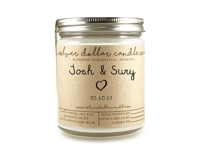 Personalized Engagement/Couple Candle - 8oz (V1) - Silver Dollar Candle Co