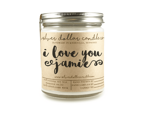 """I Love You"" - 8oz Scented Candle - Silver Dollar Candle Co"