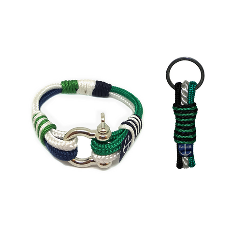 Bran Marion Green, White and Black Nautical Bracelet & Keychain