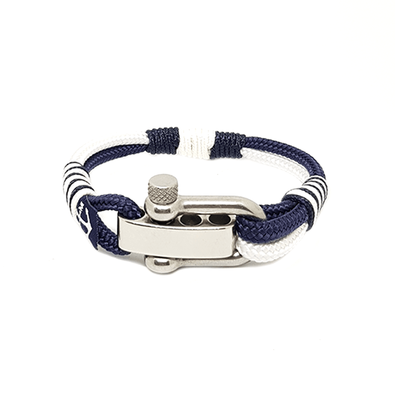 Adjustable Shackle Blue-White Nautical Bracelet