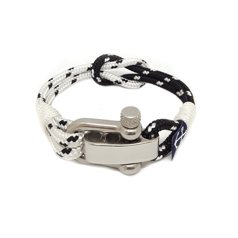 Adjustable Shackle Black and White Bracelet