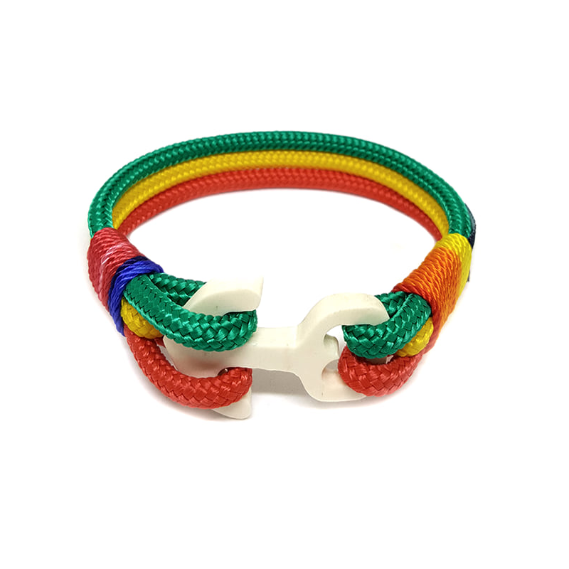 Green, Yellow and Red Wood Anchor Nautical Bracelet by Bran Marion
