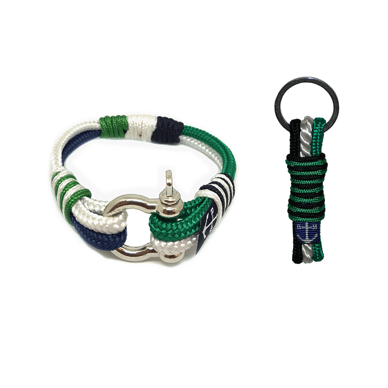 Green-White-Black Nautical Bracelet & Keychain