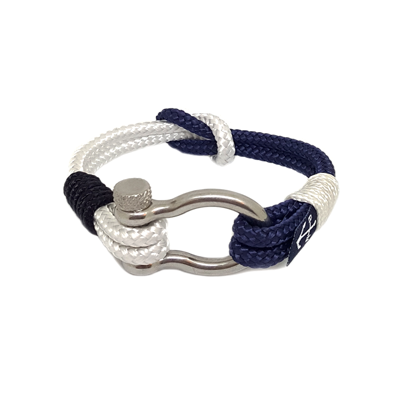 White and Dark Blue Nautical Anklet