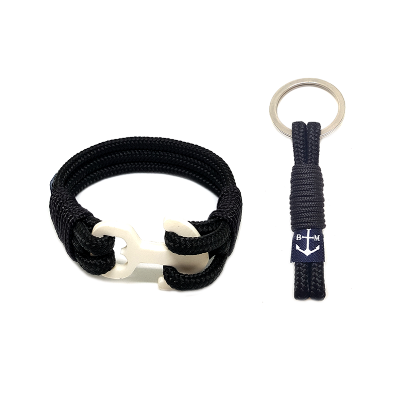 Black Wood Nautical Bracelet & Keychain
