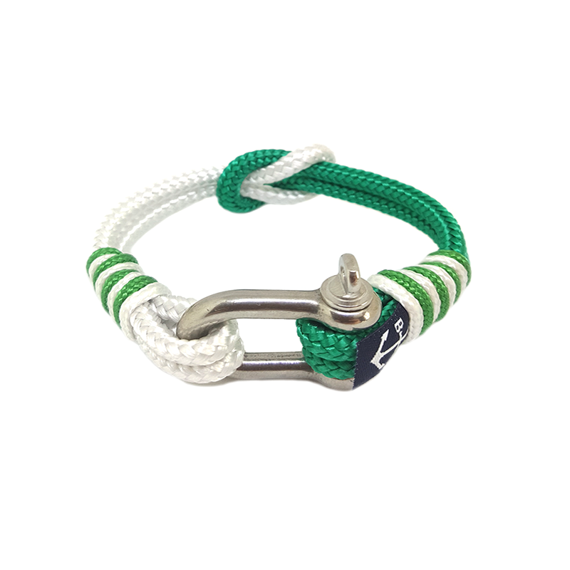 White and Green Nautical  Rope Anklet