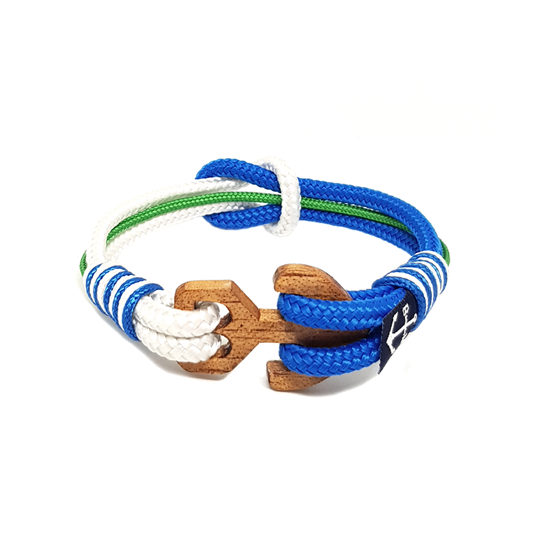 Blue, Green, White Simple Knot Anklet