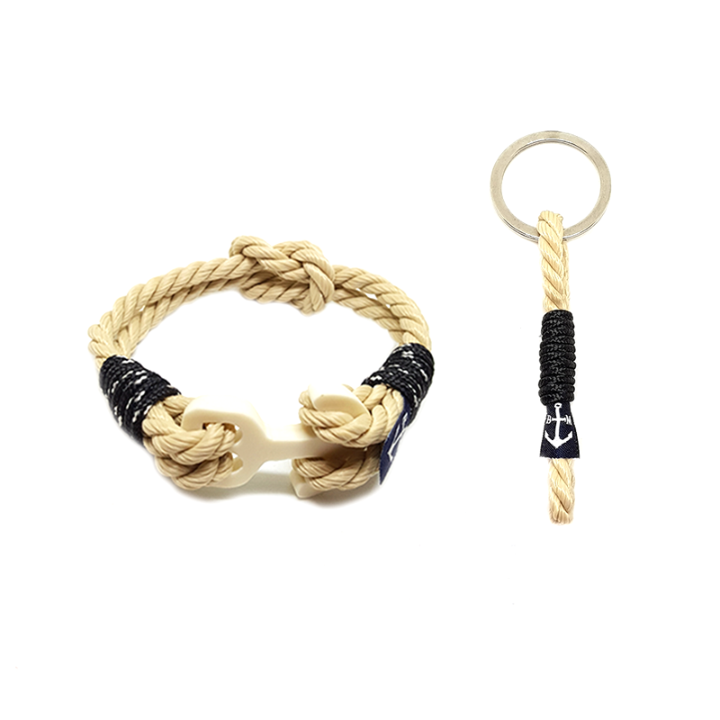 Classic Rope and Black Cord Nautical Bracelet & Keychain
