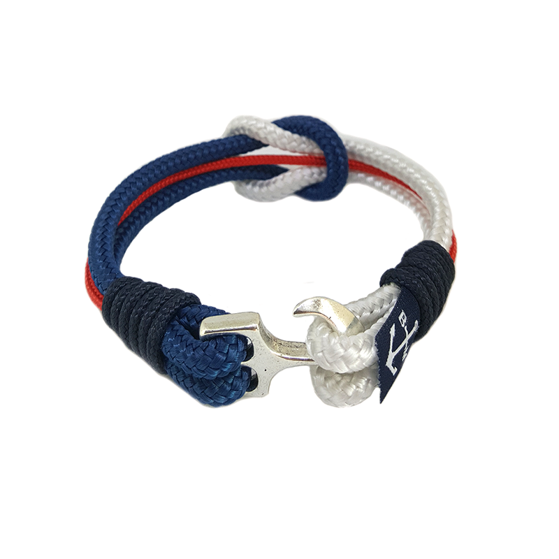 White, Blue, Red and Black Nautical Anklet