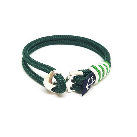 Bran Marion Irish Green and White Nautical Rope Anklet