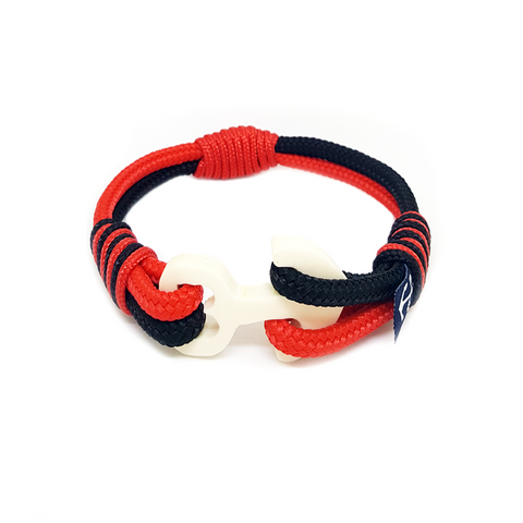 Wood Anchor Black and Red Nautical Bracelet by Bran Marion