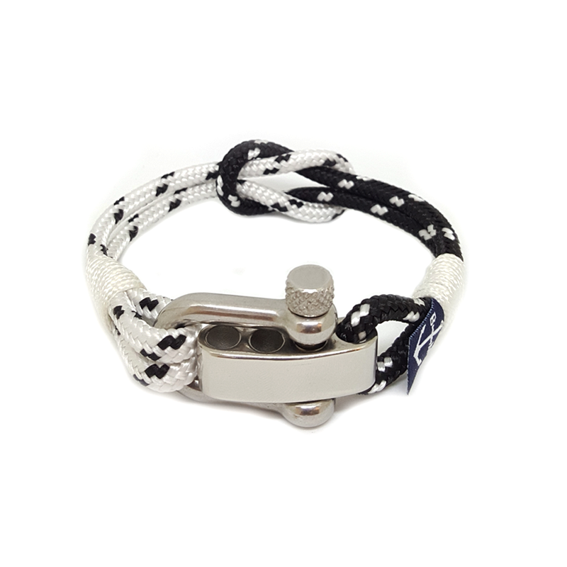 Black and White Adjustable Shackle Anklet