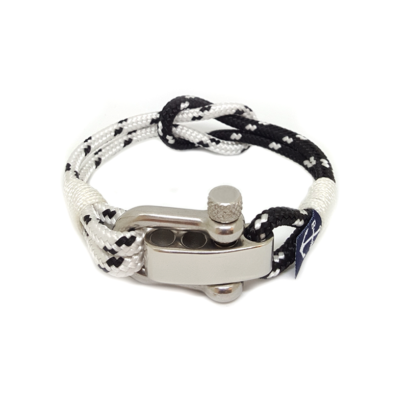 Black and White Adjustable Shackle Bracelet by Bran Marion