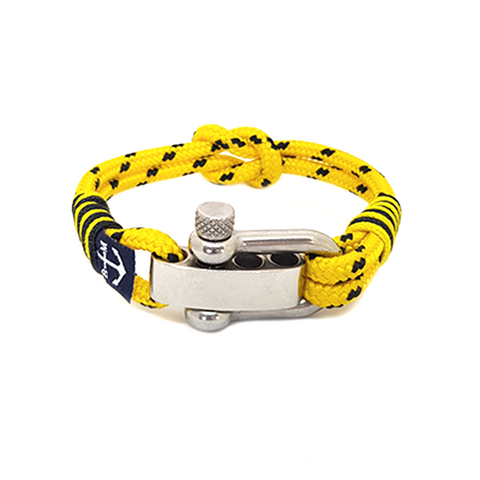 Adjustable Shackle Yellow Dotted Nautical Bracelet by Bran Marion