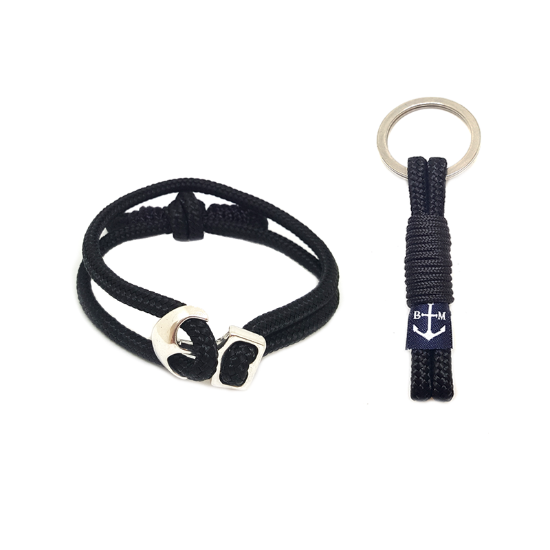 Bran Marion Black Nautical Bracelet & Keychain