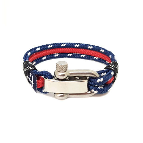 Adjustable Shackle Red and Blue Nautical Bracelet by Bran Marion