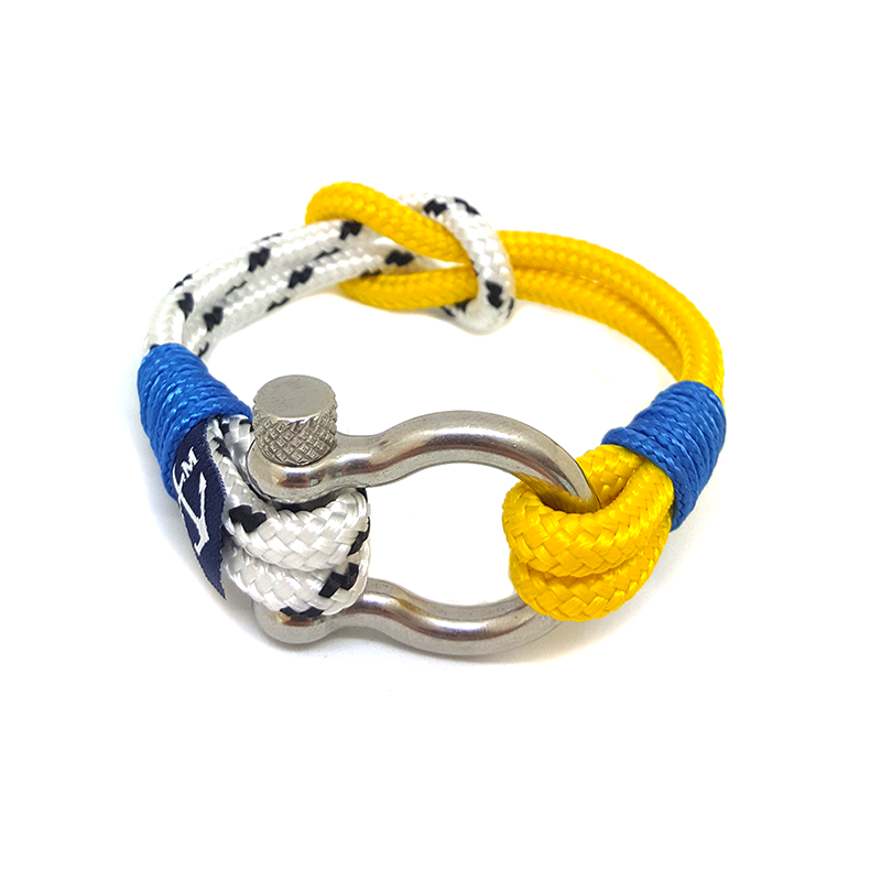 Yellow and White Shackle Nautical Bracelet by Bran Marion