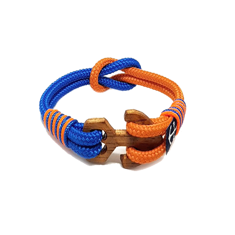 Blue and Orange Wood Anchor Nautical Anklet