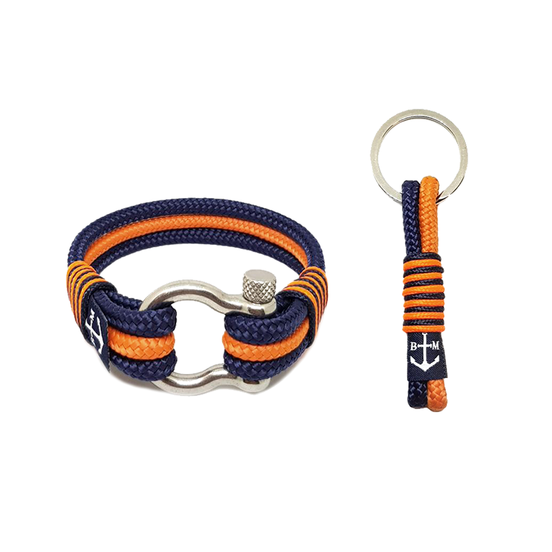 Dark Blue and Orange Nautical Bracelet & Keychain