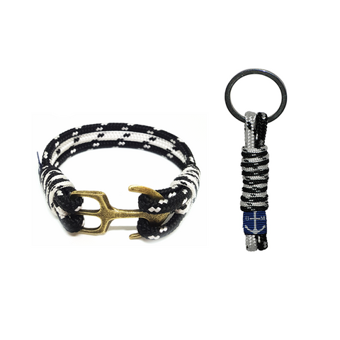 Black and White Nautical Bracelet & Keychain by Bran Marion