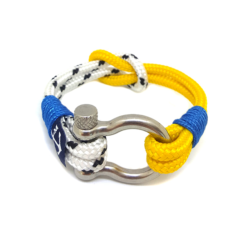 Yellow and White Shackle Nautical Bracelet