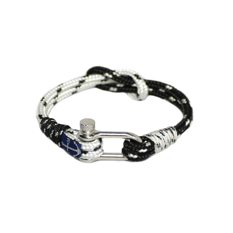 Black Dots and White Nautical Bracelet by Bran Marion