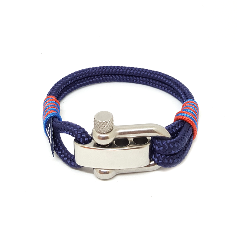 Adjustable Shackle Blue and Red Nautical Anklet