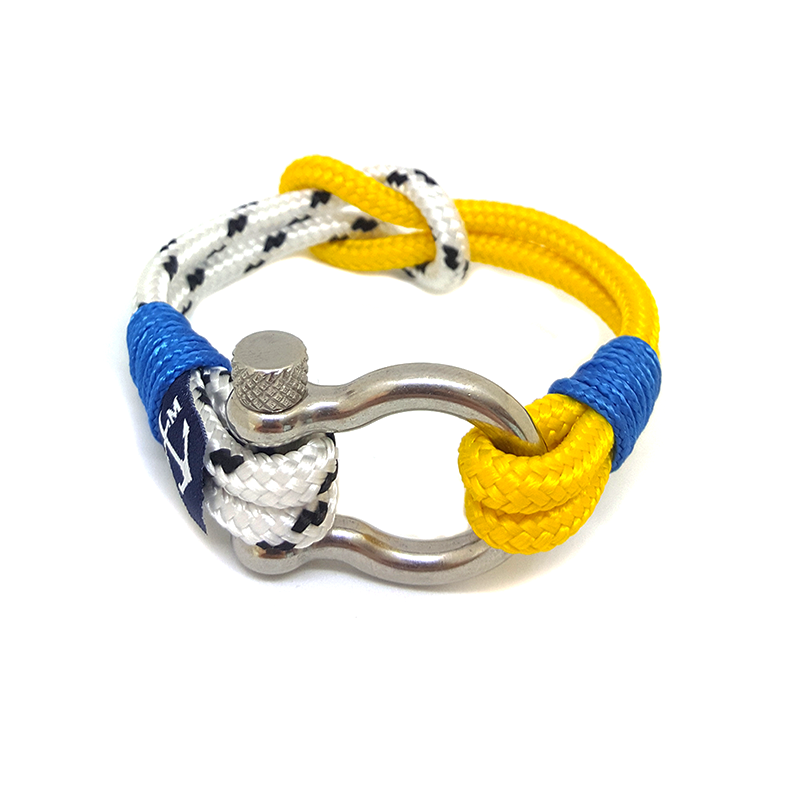 Yellow and White Shackle Nautical Anklet