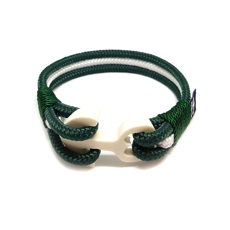 Green and White Wood Anchor Nautical Anklet