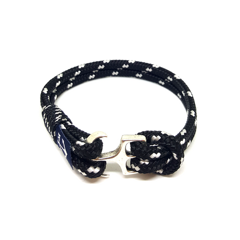 Bran Marion Sailors Black and White Nautical Anklet