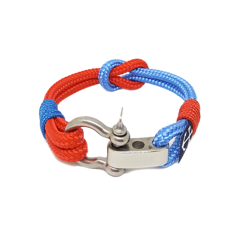 Adjustable Shackle Blue and Red Nautical Bracelet by Bran Marion