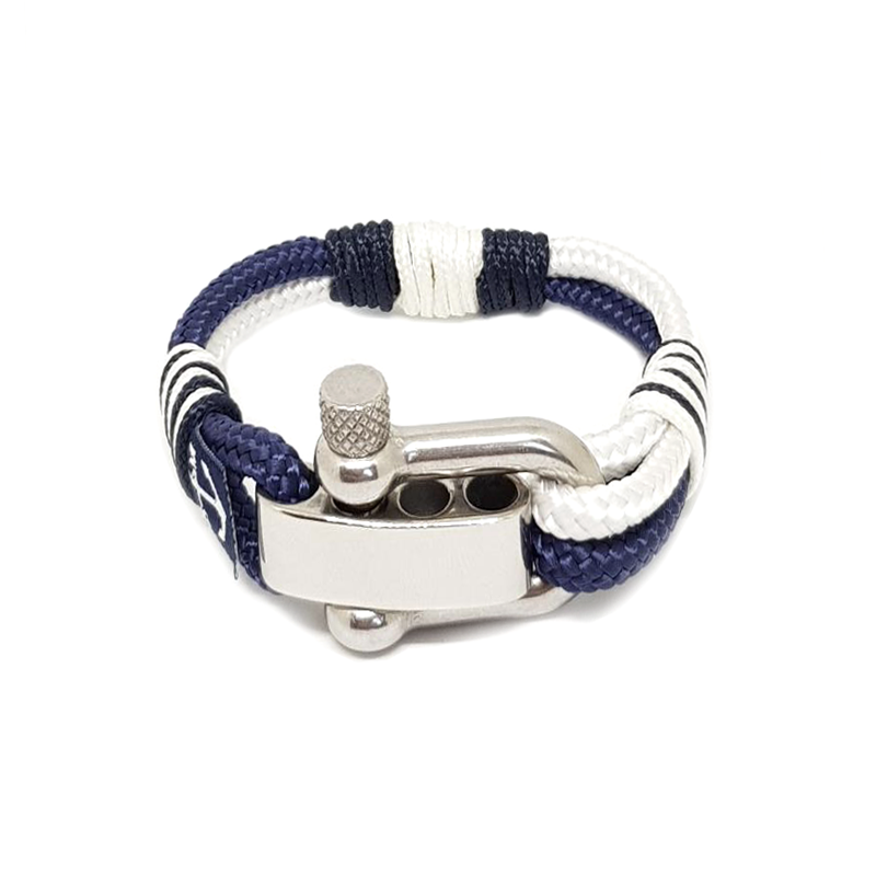 Adjustable Shackle Blue and White Nautical Anklet