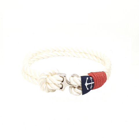 Bran Marion Sailors White and Red Nautical Anklet