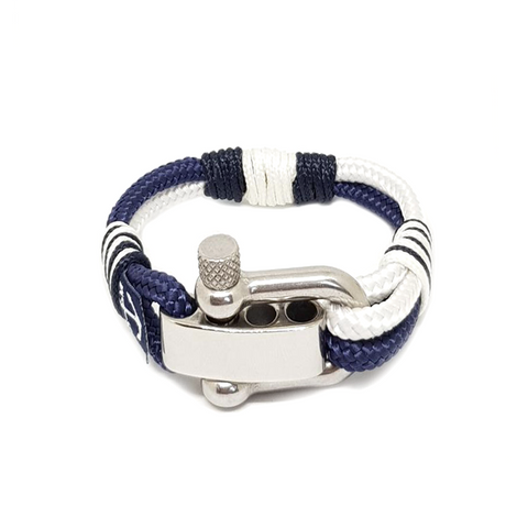 Adjustable Shackle Blue and White Nautical Bracelet