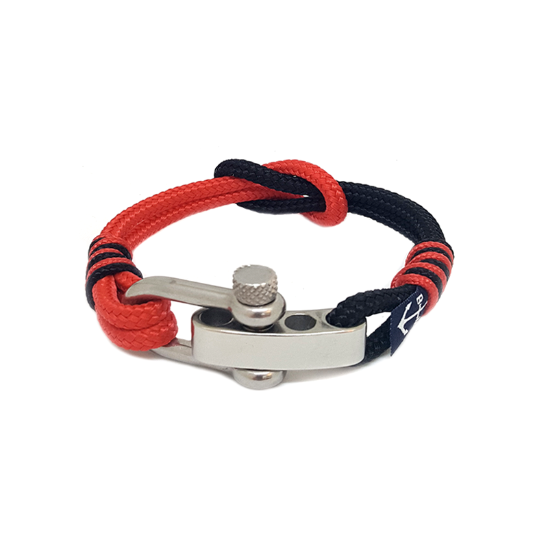 Adjustable Shackle Black and Red Nautical Bracelet by Bran Marion