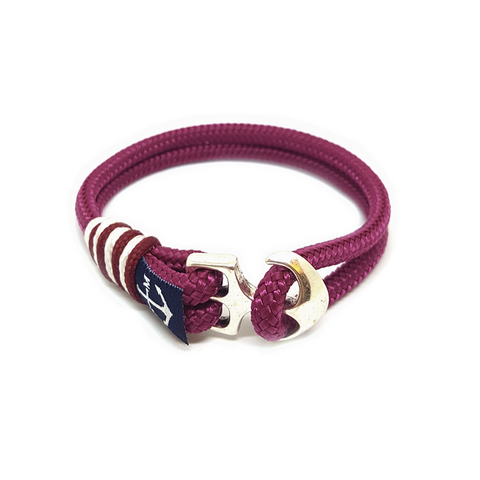 Bran Marion Burgundy and White Nautical Bracelet