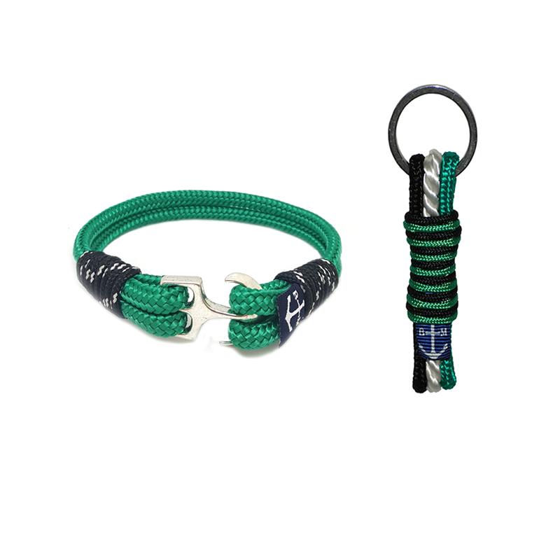 Irish Green Nautical Bracelet & Keychain